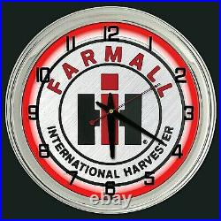 16 Farmall International Harvester IH Sign Red Neon Clock Farm Tractor