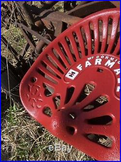Cast Iron Tractor Seat Farmall Mccormick IH Red Barn Sign Antique M H 300 Cub