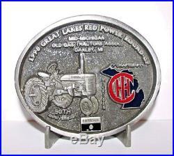 IH International Farmall C Tractor Belt Buckle 1998 Red Power Round Up IHCC 50th