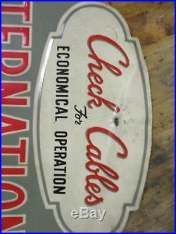 IH International Harvester Cable Rack Embossed Sign Tractor Truck Farm Old 1950s