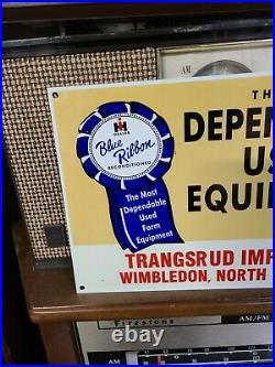 Internatonal Harvester IH Blue Ribbon Sign barn gas oil Farm Tractor