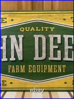 John Deere Sign Wood Farm Equipment Barn Tools Tractor Feed Vintage Style 36