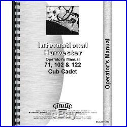 New Tractor Manual Kit For Case IH International Harvester Cub Cadet 122 102