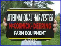 Old International Harvester Tractor Porcelain Sign Farm Equipment Mccormick