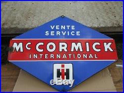 Original Vintage international Harvester McCormick Tractor Dealer Enamel Sign