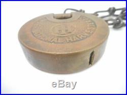 RARE Vintage IH International Harvester Farm Tractor Equipment Push Key Padlock
