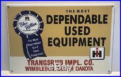 RARE Vintage International Harvester IH Blue Ribbon Tractor Dealer Sign NOS