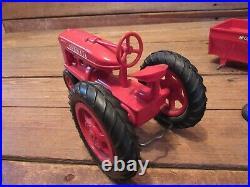 Vintage 1950s Plastic International Harvester Farmall Tractor withTrailer Toy Farm