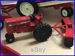 Vintage 1960s 1970s Ertl Red Farm Tractor International Harvester Implement Lot