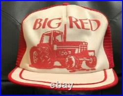 Vintage 80's Snapback USA Hat Cap Tractor 1586 International Big Red IH Mesh