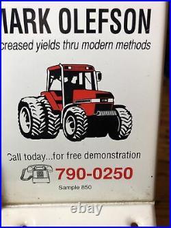 Vintage Case Ih Tractor Rain Gauge Mark Olefson Salesman Sample Tin Sign
