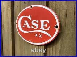 Vintage Case International Harvester Porcelain Sign Tractor Farm Farming Oil Gas