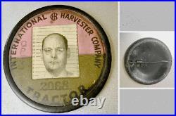 Vintage Employee Photo ID Badge INTERNATIONAL HARVESTER CO Tractor Operation
