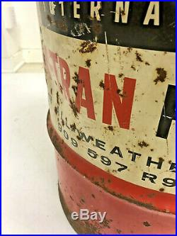 Vintage INTERNATIONAL HARVESTER BARREL industrial advertising trash can tractor
