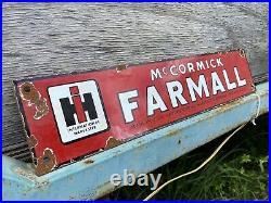 Vintage International Harvester Porcelain Farmall Mccormick Us Farm Tractor Sign
