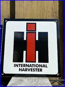 Vintage International Harvester Porcelain Metal Sign USA Farm Tractor Gas Oil