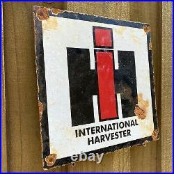 Vintage International Harvester Porcelain Sign Farm Ranch Tractor Agriculture