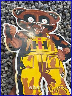 Vintage International Harvester Porcelain Sign Farm Store Ranch Tractor Bear