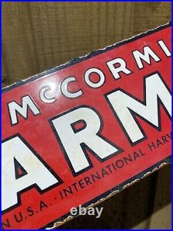 Vintage International Harvester Porcelain Sign Farmall Mccormick Farm Tractor 18