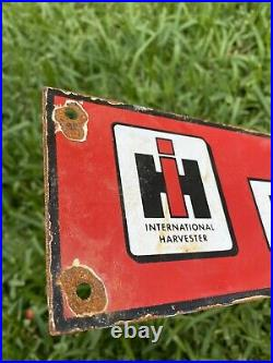 Vintage International Harvester Porcelain Sign Farmall Mccormick Us Farm Tractor