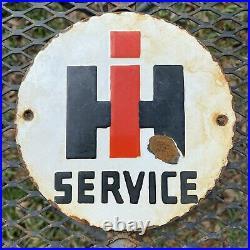 Vintage International Harvester Porcelain Sign Oil Gas American Farm Tractor 6