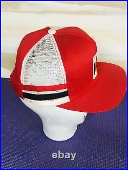 Vintage International Harvester Two 2 Stripe Swingster Mesh Snapback Hat USA