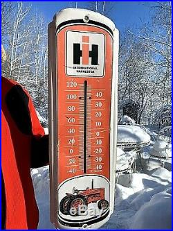 Vintage Metal International Harvester Thermometer Sign 27x8 Farm Tractor Graphic