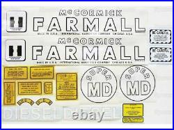 Vinyl Decal Set/Kit for IH Farmall Super MD Tractor M Diesel International