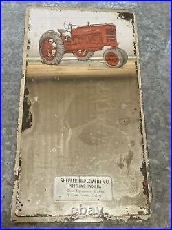 Vtg 1940s Sheffer Implement Portland Indiana Farmall M Tractor Advert. Mirror