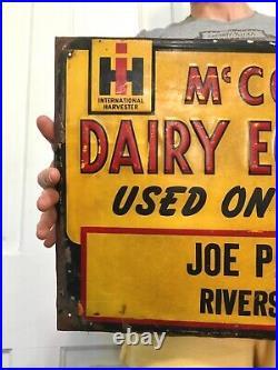 Vtg Original IH Dealer Sign Metal Dairy Feed Seed Tractor Gas Farm McCormick